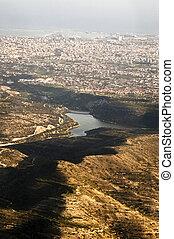 limassol, stad, luchtmening