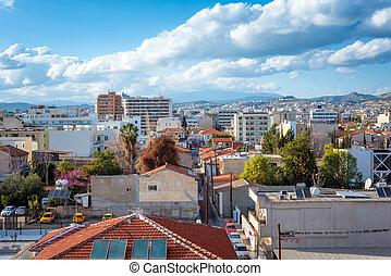 limassol, vista, cipro, elevato, cityscape.
