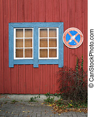Limber wall with window - Red limber wall with blue white...