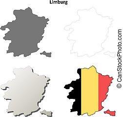 Limburg outline map set - Belgian version