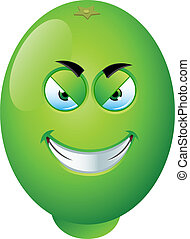 A fun vector illustration of a cartoon lime with a face.