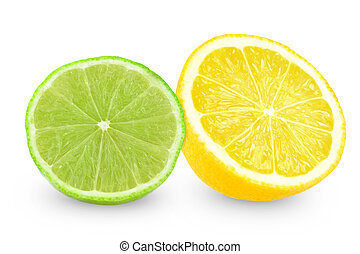 lime and lemon - slice of lime and lemon on white background...