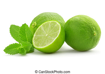lime and mint leaf isolated on white background