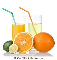 lime and orange juice with orange isolated on white