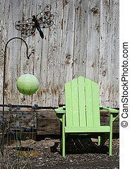 Lime and rustic fence - Lime Adirondack chair and Chinese...