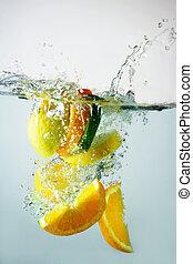 lime, apelsin, plaska, citron