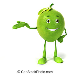 Lime character - 3d rendered illustration of a lime...