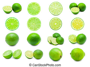 Lime - Collection of fresh green limes isolated on white...