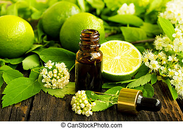 essence bottle with fresh lime, lime flower and leaves, spa concept