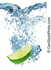 Lime falls deeply under water