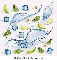 lime, friss, cubes., kieszel, jég