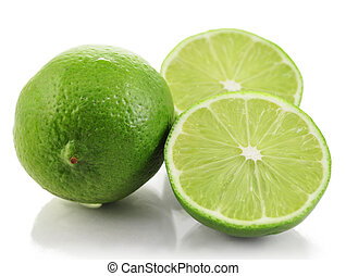 lime fruits on white background, close up