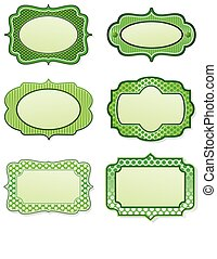 Lime green border designs - set of victorian style label ...