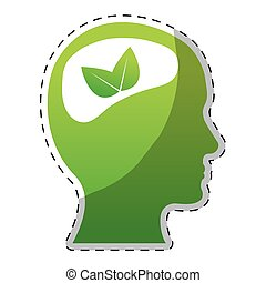 Lime green brain leaves icon