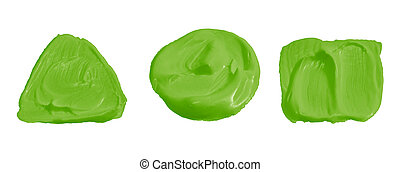 Lime green color paint isolated on white
