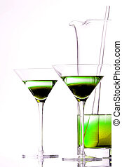 Lime Green Drink - Two lime colored drinks in martini ...