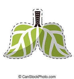 Lime green lungs branches with leaves image, vector ...