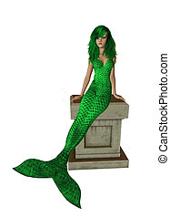 Lime Green Mermaid Sitting On A Pedestal - Lime green...