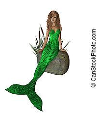 Lime Green Mermaid Sitting On A Rock - Lime green mermaid...