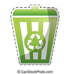 Lime green recycleng basket image design, vector ...