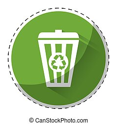 Lime green recycleng basket signal, vector illustration