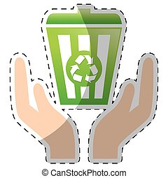 Lime green recycleng basket with hands, vector illustration ...