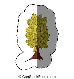 lime green sticker beautiful tree icon, vector illustraction...