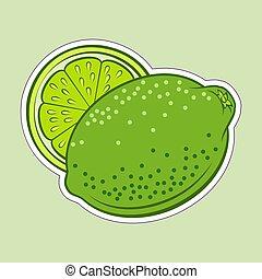 Lime Icon - Illustration of Colorful Juicy Stylized Whole...