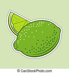 Lime Icon - Illustration of Juicy Stylized Whole and Slice...