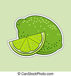 Lime Icon - Illustration of Juicy Stylized Whole and Slice...