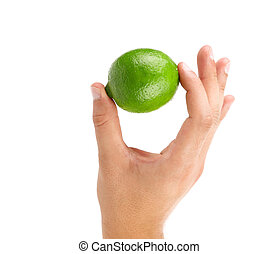 lime in hand on a white background