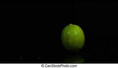 Lime is spinning in slow motion