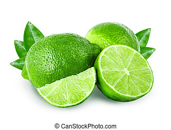 lime Isolated on white background Clipping Path