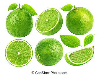 Lime isolated on white background. Collection