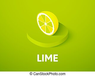 Lime isometric icon, isolated on color background