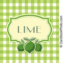 Lime label in retro style on squared background