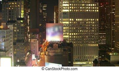 Lime lapse New York City corner Times Square, 7th Av. at sunrise