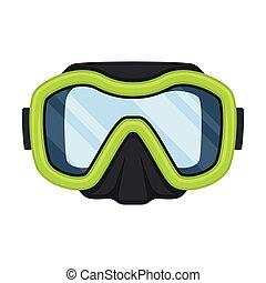 Lime mask for swimming. Vector illustration on white background.