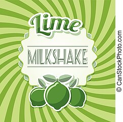 Lime milkshake label in retro style on twisted background