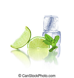 lime, mint and ice isolated on white background
