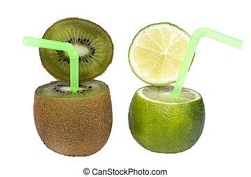 lime, och, kiwi, abstrakt, frukt, drink.