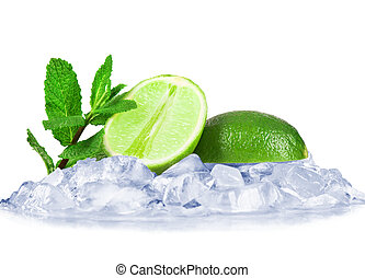 Lime on cubes of ice with mint on white background