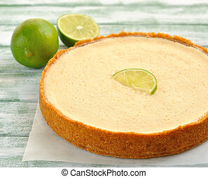 lime pie on a white table