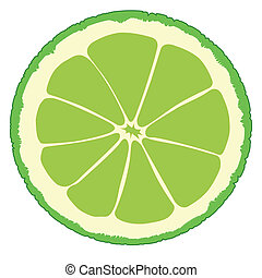 Lime Slice - An slice of lime isolated over a white...