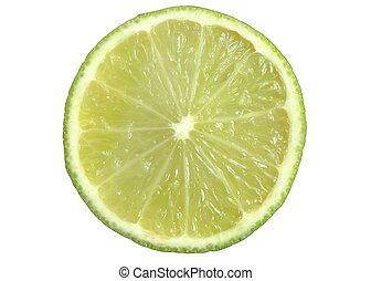 Lime slice on a white background.