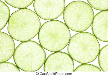 Fresh limes isolated on white background