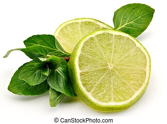 Lime slices with mint leaves surrounded by white background