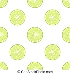 Lime slices vector pattern - Lime slices citrus green...