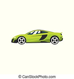 Lime sports racing car, supercar, side view vector...