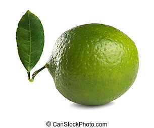 lime - Fresh lime with leaf isolated on white background